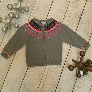 Hartstrings 2T Gray Pink Cardigan Sweater